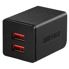 BUFFALO 2�D4A USB�}���[�d�� AUTO POWER SELECT�@�\����(2�|�[�g) BSMPA2402P2BK  �u���b�N